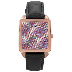 Triangle Plaid Circle Purple Grey Red Rose Gold Leather Watch  by Alisyart
