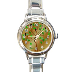 Tree Root Leaves Contour Outlines Round Italian Charm Watch by Simbadda