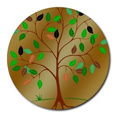 Tree Root Leaves Contour Outlines Round Mousepads by Simbadda