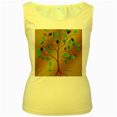 Tree Root Leaves Contour Outlines Women s Yellow Tank Top by Simbadda