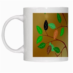 Tree Root Leaves Contour Outlines White Mugs by Simbadda