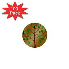Tree Root Leaves Contour Outlines 1  Mini Buttons (100 Pack)  by Simbadda