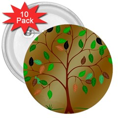 Tree Root Leaves Contour Outlines 3  Buttons (10 Pack)  by Simbadda