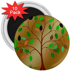 Tree Root Leaves Contour Outlines 3  Magnets (10 Pack)  by Simbadda