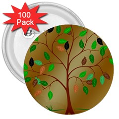 Tree Root Leaves Contour Outlines 3  Buttons (100 Pack)  by Simbadda
