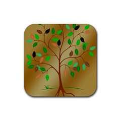Tree Root Leaves Contour Outlines Rubber Square Coaster (4 Pack)  by Simbadda