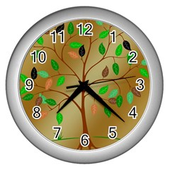 Tree Root Leaves Contour Outlines Wall Clocks (silver)  by Simbadda