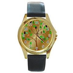 Tree Root Leaves Contour Outlines Round Gold Metal Watch by Simbadda