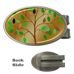Tree Root Leaves Contour Outlines Money Clips (oval)  by Simbadda