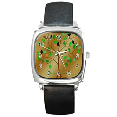 Tree Root Leaves Contour Outlines Square Metal Watch by Simbadda