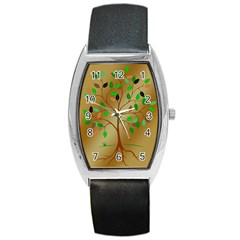 Tree Root Leaves Contour Outlines Barrel Style Metal Watch by Simbadda