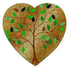 Tree Root Leaves Contour Outlines Jigsaw Puzzle (heart) by Simbadda