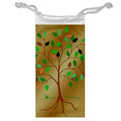 Tree Root Leaves Contour Outlines Jewelry Bag by Simbadda