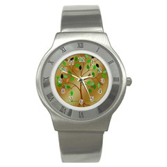 Tree Root Leaves Contour Outlines Stainless Steel Watch by Simbadda