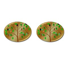 Tree Root Leaves Contour Outlines Cufflinks (oval) by Simbadda