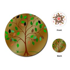 Tree Root Leaves Contour Outlines Playing Cards (round)  by Simbadda