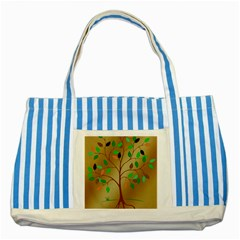 Tree Root Leaves Contour Outlines Striped Blue Tote Bag by Simbadda