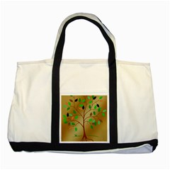 Tree Root Leaves Contour Outlines Two Tone Tote Bag by Simbadda