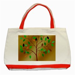 Tree Root Leaves Contour Outlines Classic Tote Bag (red) by Simbadda
