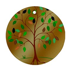 Tree Root Leaves Contour Outlines Round Ornament (two Sides) by Simbadda