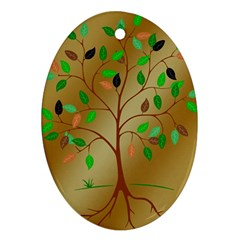 Tree Root Leaves Contour Outlines Oval Ornament (two Sides) by Simbadda