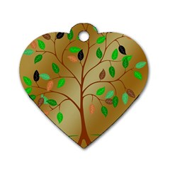 Tree Root Leaves Contour Outlines Dog Tag Heart (two Sides) by Simbadda