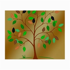 Tree Root Leaves Contour Outlines Small Glasses Cloth (2 Side) by Simbadda