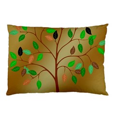 Tree Root Leaves Contour Outlines Pillow Case by Simbadda