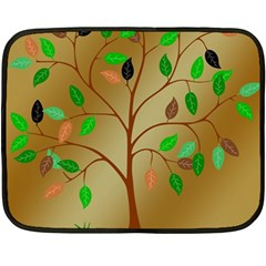 Tree Root Leaves Contour Outlines Fleece Blanket (mini) by Simbadda