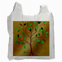 Tree Root Leaves Contour Outlines Recycle Bag (one Side) by Simbadda