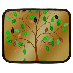 Tree Root Leaves Contour Outlines Netbook Case (xl)  by Simbadda