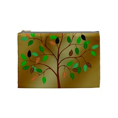 Tree Root Leaves Contour Outlines Cosmetic Bag (medium)  by Simbadda