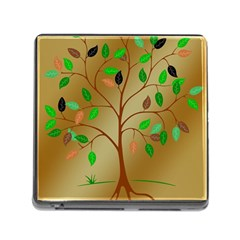 Tree Root Leaves Contour Outlines Memory Card Reader (square) by Simbadda
