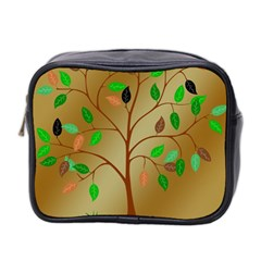 Tree Root Leaves Contour Outlines Mini Toiletries Bag 2 Side by Simbadda