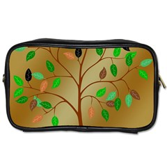 Tree Root Leaves Contour Outlines Toiletries Bags 2 Side by Simbadda