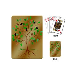 Tree Root Leaves Contour Outlines Playing Cards (mini)  by Simbadda
