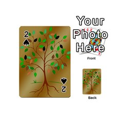 Tree Root Leaves Contour Outlines Playing Cards 54 (mini)  by Simbadda