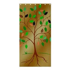 Tree Root Leaves Contour Outlines Shower Curtain 36  X 72  (stall)  by Simbadda