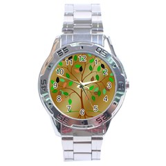 Tree Root Leaves Contour Outlines Stainless Steel Analogue Watch by Simbadda