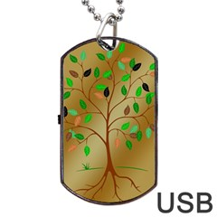 Tree Root Leaves Contour Outlines Dog Tag Usb Flash (two Sides) by Simbadda