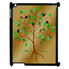 Tree Root Leaves Contour Outlines Apple Ipad 2 Case (black) by Simbadda