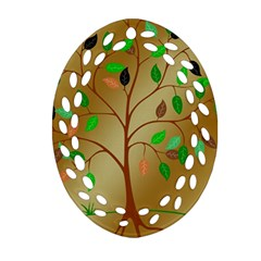 Tree Root Leaves Contour Outlines Ornament (oval Filigree) by Simbadda