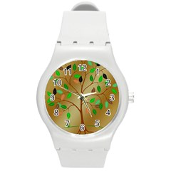 Tree Root Leaves Contour Outlines Round Plastic Sport Watch (m) by Simbadda