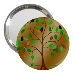 Tree Root Leaves Contour Outlines 3  Handbag Mirrors by Simbadda