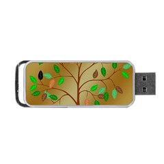 Tree Root Leaves Contour Outlines Portable Usb Flash (one Side) by Simbadda