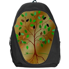 Tree Root Leaves Contour Outlines Backpack Bag by Simbadda
