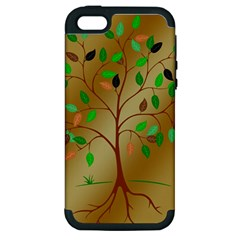 Tree Root Leaves Contour Outlines Apple Iphone 5 Hardshell Case (pc+silicone) by Simbadda