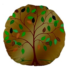 Tree Root Leaves Contour Outlines Large 18  Premium Round Cushions by Simbadda