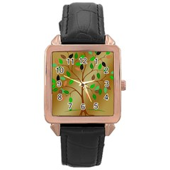 Tree Root Leaves Contour Outlines Rose Gold Leather Watch  by Simbadda