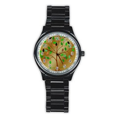 Tree Root Leaves Contour Outlines Stainless Steel Round Watch by Simbadda
